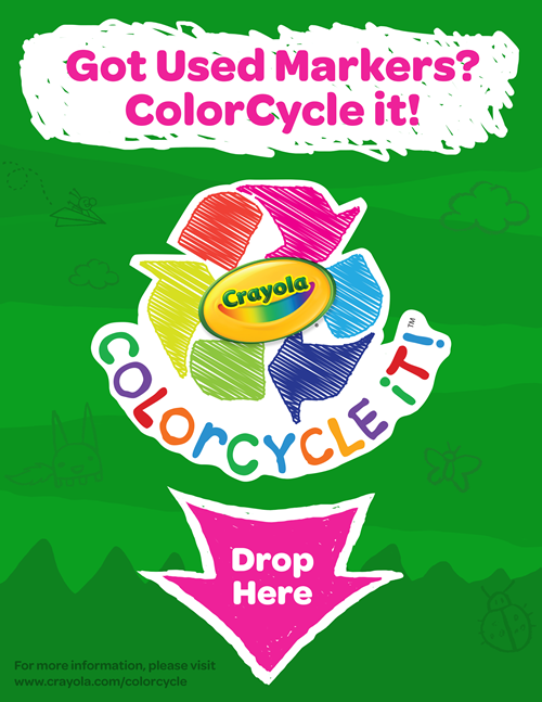 Crayola Marker Recycling Drop Here Poster