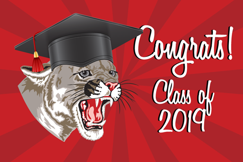 Cougar with graduation cap, congrats class of 2019