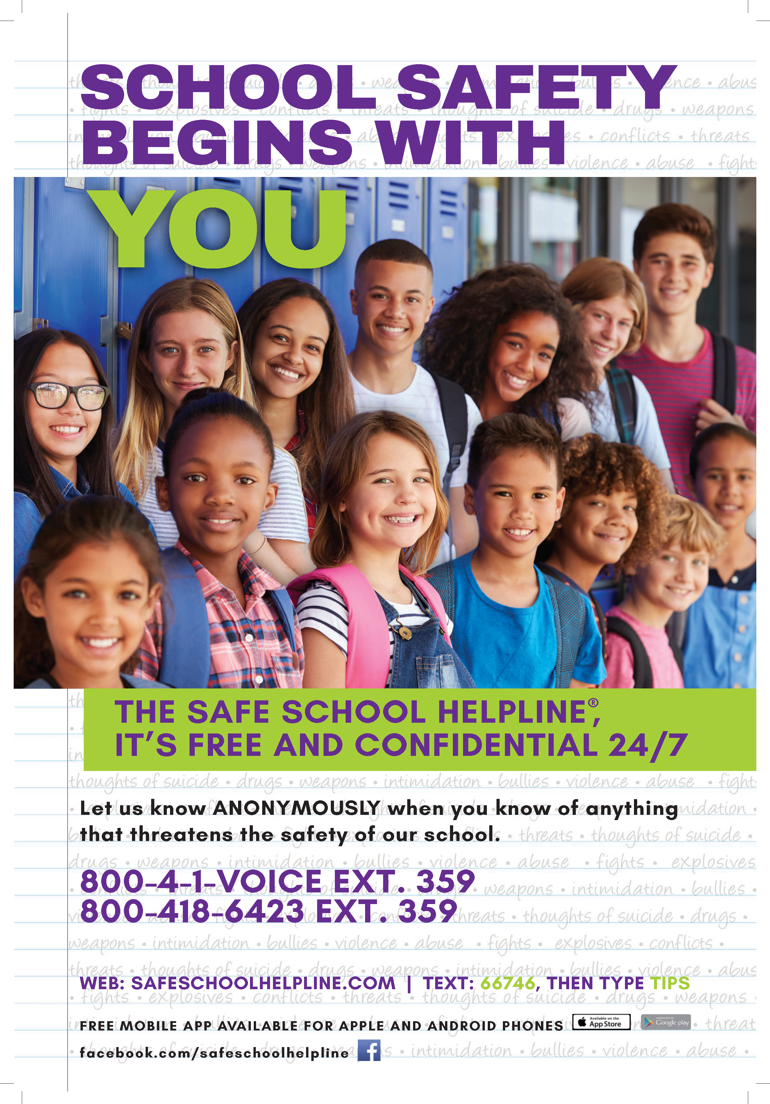 Safe School Helpline poster