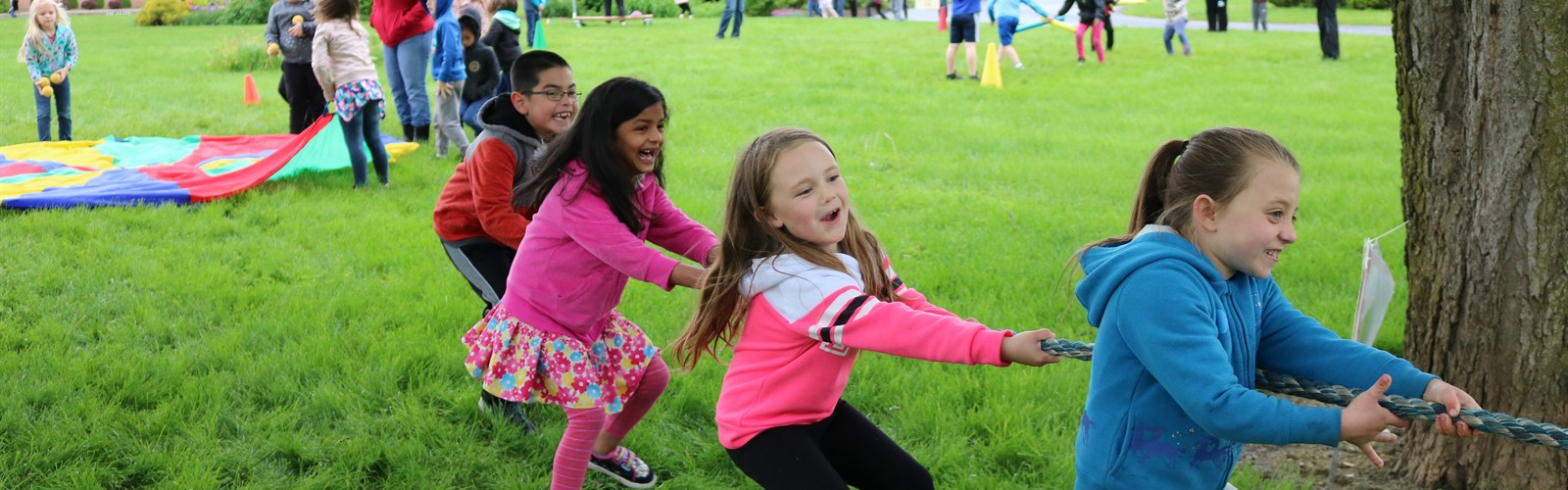 Students playing tug-of-war during field day