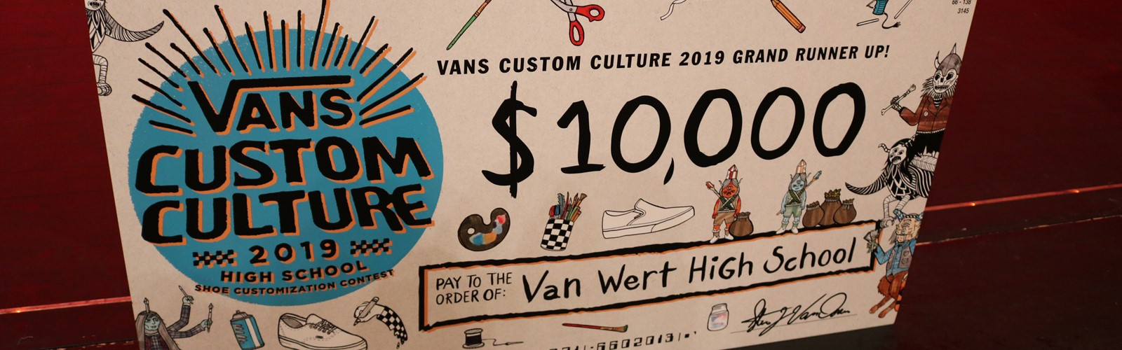 Vans Custom Culture contest runner up $10,000 check