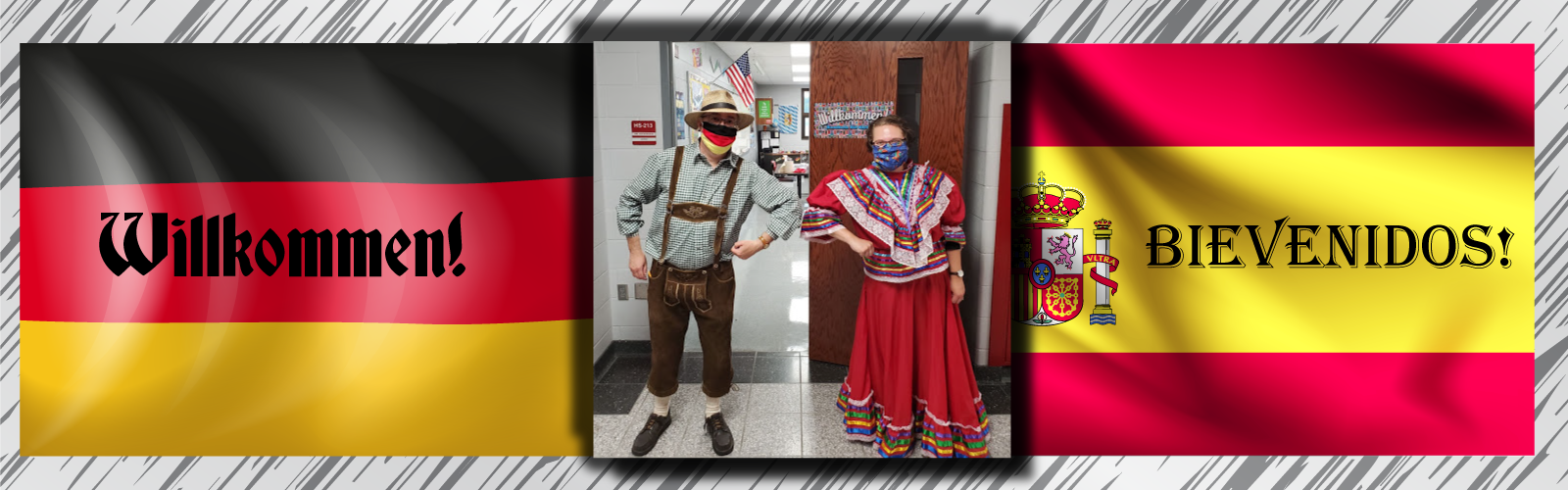 "German and Spanish teacher pose on the first day with graphics of flags saying ""Welcome"" in their foreign language"