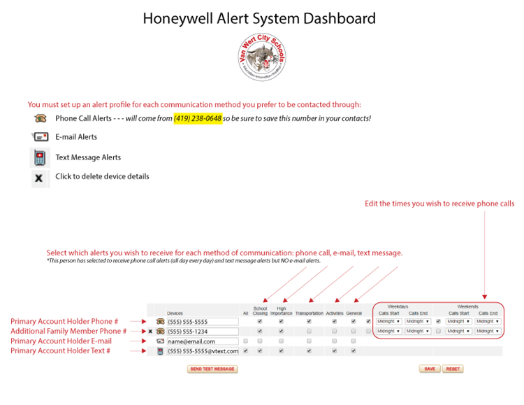 Honeywell dashboard graphic with instructions