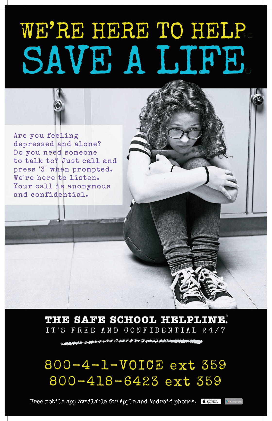 Safe School Helpline mental health poster