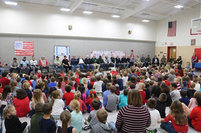 Students honor local veterans during the Veterans' Day Assembly